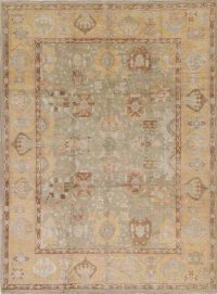 Vegetable Dye Muted Green Oushak Turkish Hand-Knotted Area Rug 9x12