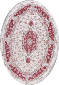 Vegetable Dye Floral Ivory Tabriz Persian Hand-Knotted Area Rug 7x10