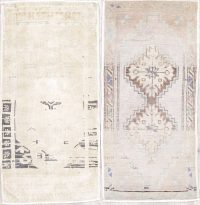 Pack Of Two Geometric Oushak Hand-Knotted Rug Wool 2x3
