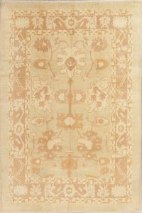 Vegetable Dye Muted Gold Oushak Turkish Hand-Knotted 7x11 Wool Area Rug
