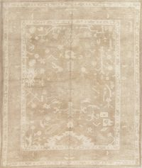 Vegetable Dye Muted Beige Oushak Turkish Hand-Knotted 8x10 Area Rug