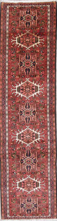 Geometric Red Gharajeh Persian Hand-Knotted Runner Rug Wool 3x10