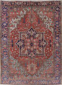 Antique Vegetable Dye Heriz Serapi Persian Handmade Area Rug 9x12