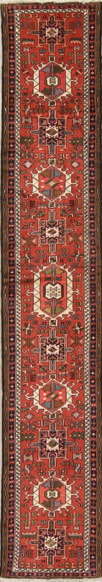 Geometric Blue Yalameh Persian Hand-Knotted Runner Rug Wool 3x7
