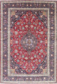Vegetable Dye Floral Red Tabriz Persian Hand-Knotted Area Rug 10x15