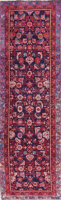 Geometric Hamedan Persian Hand-Knotted 3x11Beige Runner Rug