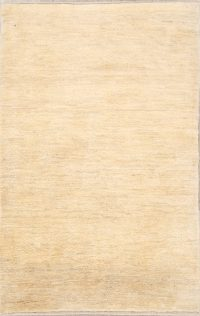 Solid Beige 4x6 Gabbeh Shiraz Persian Modern Hand-Knotted Area Rug
