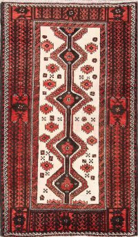 One-of-a-Kind Geometric Balouch Persian Hand-Knotted 3x5 Wool Rug