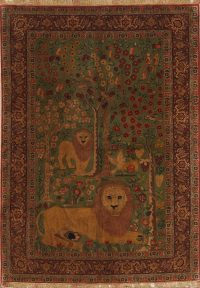 Master-Piece Vegetable Dye Lion Pictorial Senneh Bidjar Haftrang Persian Hand-Knotted 5x7 Wall-Hanging Rug