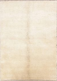 Solid Ivory Gabbeh Persian Hand-Knotted 4x6 Wool Area Rug