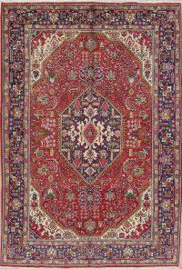Vintage Geometric Tabriz Persian Hand-Knotted 7x10 Area Rug