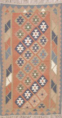 Pink Geometric Kilim Shiraz Persian Runner Rug 3x6