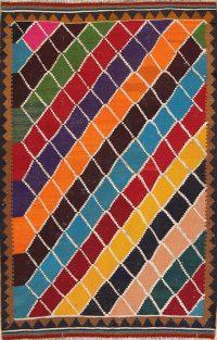 One-of-a-Kind Geometric Kilim Kashkoli Persian Hand-Woven 5x7 Wool Area Rug