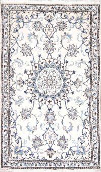 Ivory Floral Nain Persian Wool Rug 3x5