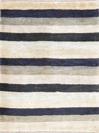 Stripe Gabbeh Zollanvari Persian Modern Hand-Knotted Rug Wool 4x5