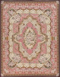 Pink Savonnerie Needle-Point Chinese Hand-Woven Area Rug Wool 8x10