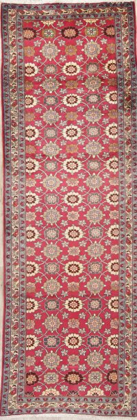 Floral Pink Tabriz Persian Hand-Knotted Runner Rug Wool 3x9