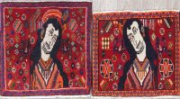 Pack Of Two Pictorial Abadeh Persian Hand-Knotted 2x2 Red Square Rug