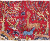 Animal Pictorial Bidjar Persian Hand-Knotted 2x3 Red Rug Wool