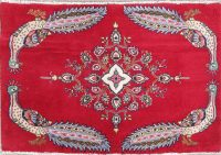 Animal Pictorial Abadeh Persian Hand-Knotted 2x3 Red Rug Wool