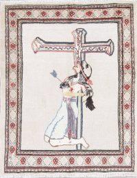 Pictorial Kazak Russian Oriental 3X4 Ivory Wool Rug
