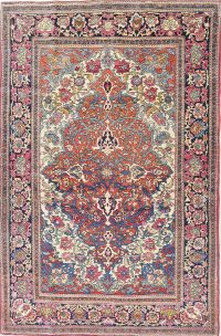 Pre-1900 Antique Vegetable Dye Sarouk Farahan Persian Area Rug 4x7