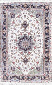 Floral Kashmar Persian Hand-Knotted Ivory Area Rug 7x10
