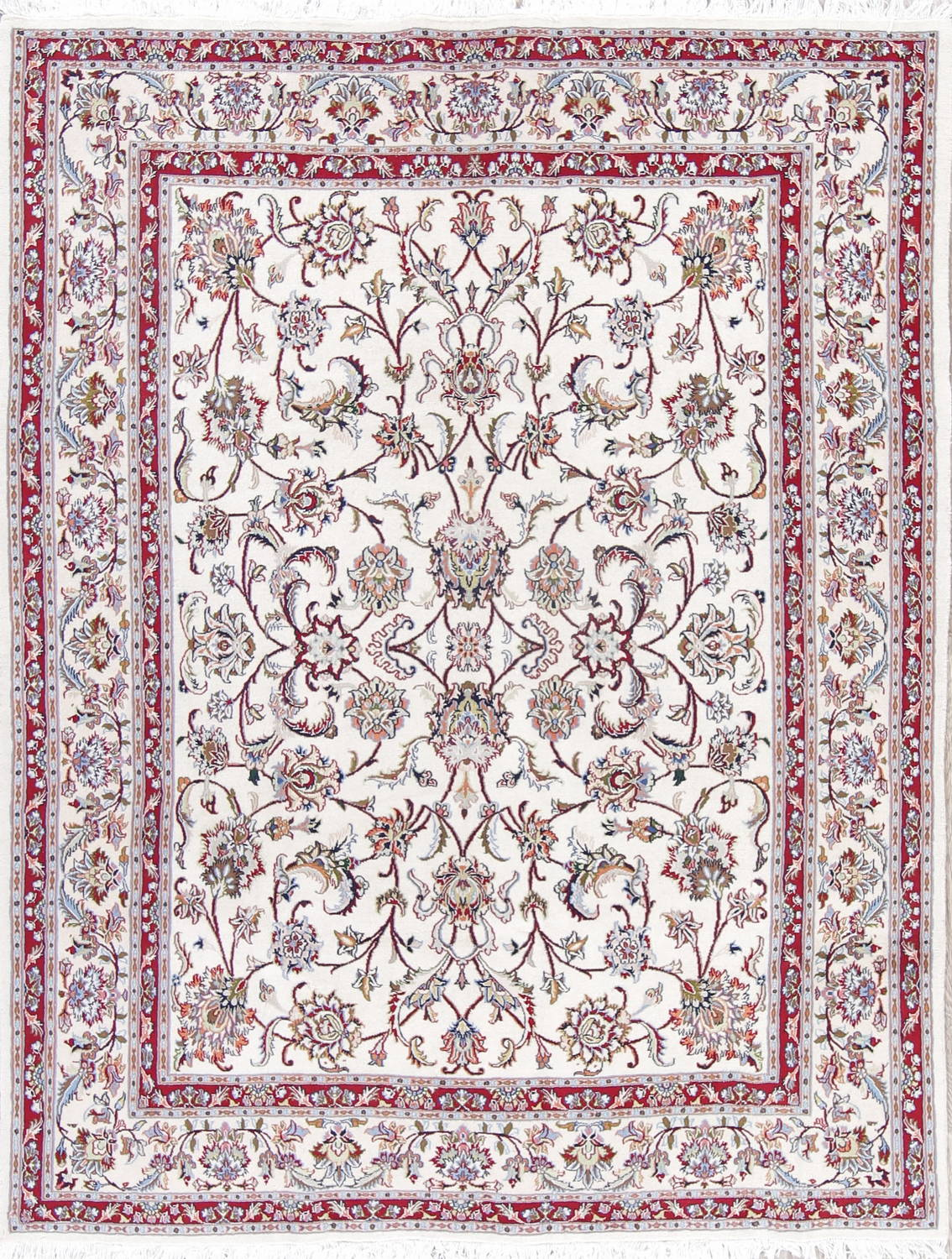 All-Over Floral Kashmar Persian Hand-Knotted Ivory 6x8 Area Rug