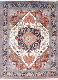 Geometric Heriz Persian Hand-Knotted 8x11 Ivory Area Rug Wool