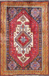 One of a Kind Tribal Geometric Kashkoli Persian Hand-Knotted 4x6 Wool Area Rug