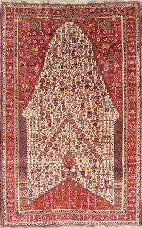 One of a Kind Tribal Geometric Kashkoli Persian Hand-Knotted 5x8 Wool Area Rug