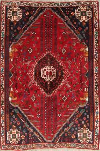 One of a Kind Red Tribal Abadeh Persian Hand-Knotted 5x8 Wool Area Rug