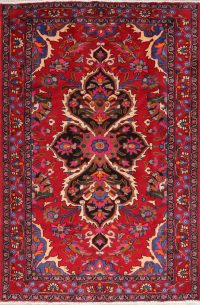 One of a Kind Red Floral Bakhtiari Persian Hand-Knotted 5x7 Wool Area Rug