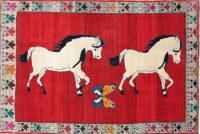 Animal Pictorial Gabbeh Persian Hand-Knotted 5x8 Wool Area Rug