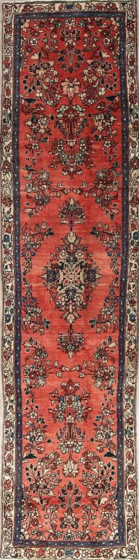 Traditional Floral Lilian Hamedan Persian Hand-Knotted 3x10 Wool Runner Rug