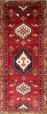 Red Tribal Animal Pictorial Ardebil Persian Hand-Knotted 4x10 Wool Runner Rug