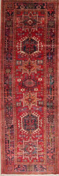 One of a Kind Red Tribal Gharajeh Persian Hand-Knotted 4x11 Wool Runner Rug