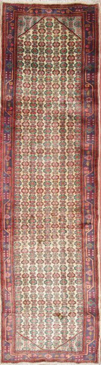 One of a Kind All-Over Ardebil Persian Hand-Knotted 3x10 Wool Runner Rug