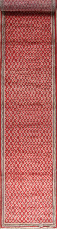 Red All-Over Paisley Botemir Persian Oriental Hand-Knotted 3x15 Wool Runner Rug