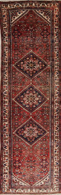 Red Geometric Malayer Persian Hand-Knotted 3x11 Wool Runner Rug