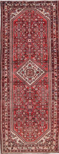 Red Geometric Hamedan Persian Hand-Knotted 4x10 Wool Runner Rug