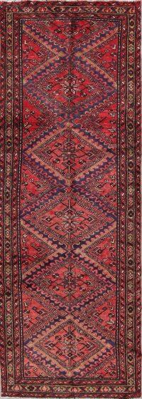 Red Geometric Hamedan Persian Hand-Knotted 3x9 Wool Runner Rug