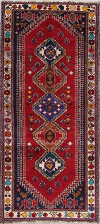 One of a Kind Tribal Geometric Gabbeh Persian Hand-Knotted 4x8 Wool Runner Rug