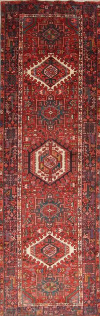 Tribal Geometric Gharajeh Persian Hand-Knotted 3x12 Wool Runner Rug