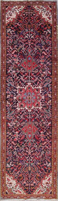 One of a Kind Geometric Heriz Persian Hand-Knotted 4x12 Wool Runner Rug