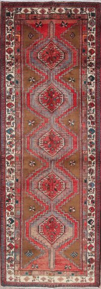 One of a Kind Geometric Meshkin Persian Hand-Knotted 4x10 Wool Runner Rug
