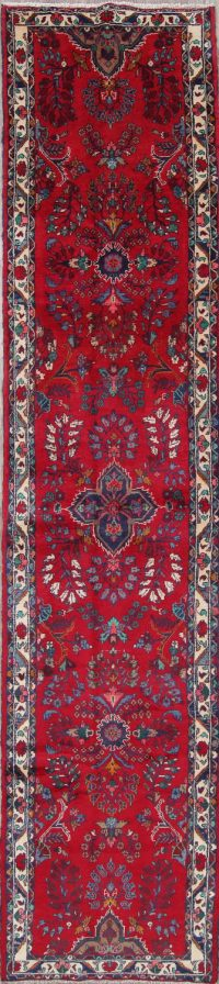 All-Over Floral Bibikabad Hamedan Persian Hand-Knotted 3x13 Wool Runner Rug