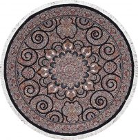 Transitional Black Floral Tabriz Turkish Oriental 7x7 Round Area Rug