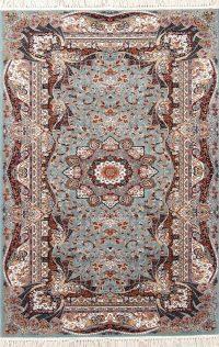 Teal Blue Geometric Hereke Turkish Oriental 5x7 Area Rug