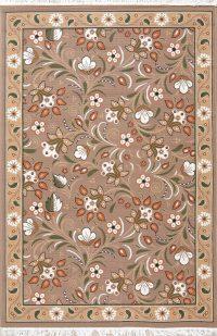 Brown Floral Modern Kilim Turkish Oriental 5x7 Area Rug